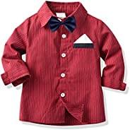 PROTAURI Baby Boys Gentleman Shirt,Little Boys Long Sleeve Classic Dress Red Top with Bow Tie for School Day,W