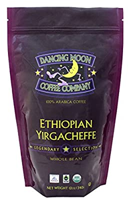 Dancing Moon Ethiopian Yirgacheffe Whole Bean Organic Fair Trade Coffee, 12 Ounces