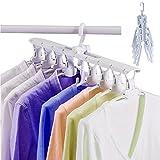 NEWBEGIN Clothes Hanger, Multi-purpose Non-slip Clothes Hanger, Folding retractable Closet Storage Organizer with 360 Degree Swivel Chrome Hook