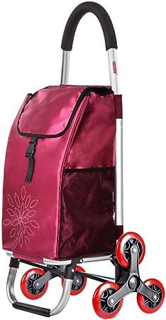 GGRYX Carrito De Compras, Carro De Transporte Carrito Compra Plegable Carro Compra para Subir Escaleras, Impermeable Gran Capacidad, con Bolsa De Compras Extragrande,Red_Threewheeled: Amazon.es: Hogar