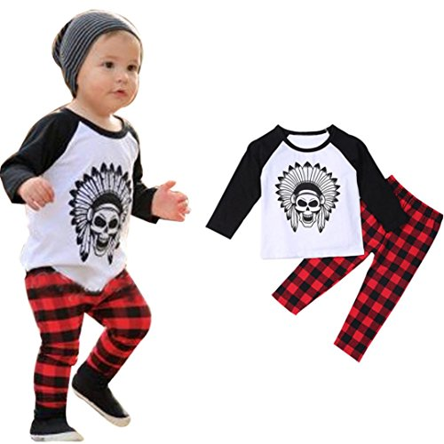 [Clothes Set ,BeautyVan 1Set Infant Toddler Baby Boys Printed T-shirt Tops+Pants Outfits Clothes (12M,] (Cute Santa Outfits)