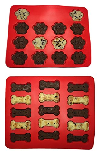 Win&Co Puppy Paws & Bones  Silicone Baking Molds-Pan-Ice Trays Set of 2 (Bone Shaped Cake Pan compare prices)