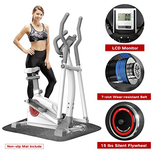 Elevtab Elliptical Machine Trainer – Adjustable 8 Levels Resistance and Seats, with Digital Monitor and Pulse Rate Grips Magnetic Smooth Quiet Driven Elliptical Exercise Machine for Home Gym (White)