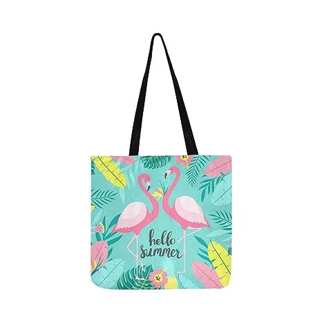 Tropical Dos lindos flamencos inscripción lienzo bolso ...
