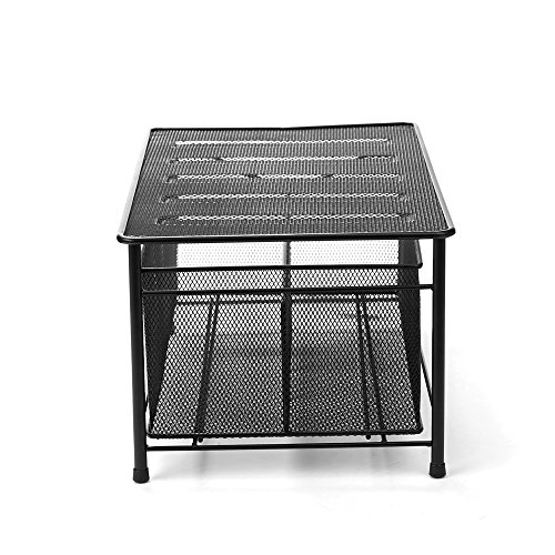 Mind Reader CABASKDR Black Metal Mesh Storage Basket with Sliding Drawer and Steel Mesh Platform On Top