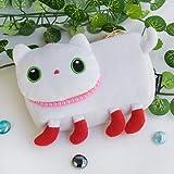 [White Kitty] Medium Plush Gadget Cosmetic Bag / Camera bag / Hand Purse Wallet (6.1*3.5*1.5)