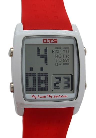 Moda OTS banda de reloj digital de color rojo
