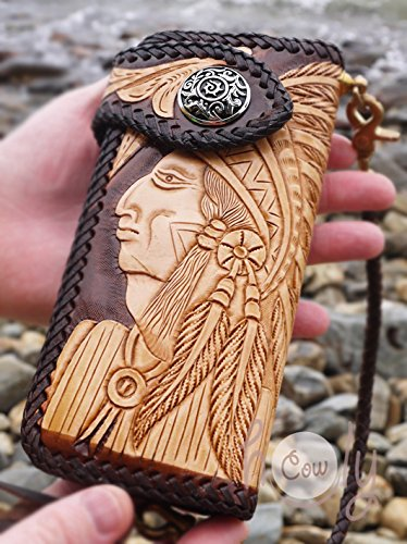 Large Hand Carved Native American Indian Leather Wallet by Thai Holy Cow