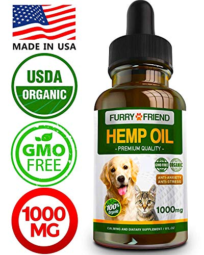 - Hemp Oil for Dogs & Cats - 1000 mg - Anxiety Relief for Dogs & Cats - 100% Organic Pet Hemp Oil - Supports Hip & Joint Health - Grown & Made in USA - Natural Relief for Pain