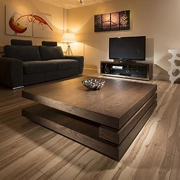 Extra Gross Modern Quadratisch Holz Dunkle 12mt Couchtisch 397E Elm Braun