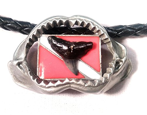 Fossil White Necklace (New Silver Pewter Megalodon Shark Jaw Necklace with Diver Down Flag and Prehistoric Megalodon Fossil Shark Tooth)