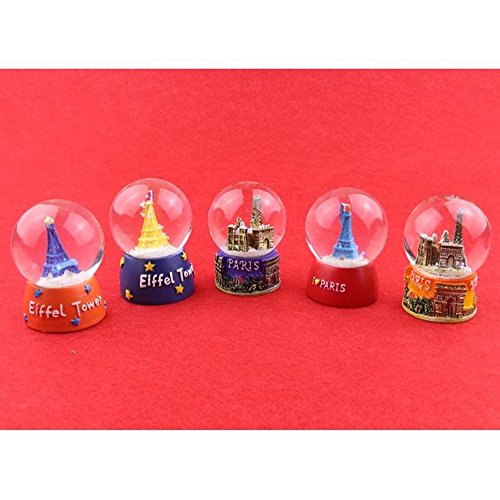 Crystal Water Ball Snow Dome Eiffel Tower Colorful Paris Mini (Encore Plastic Soap Dispenser)