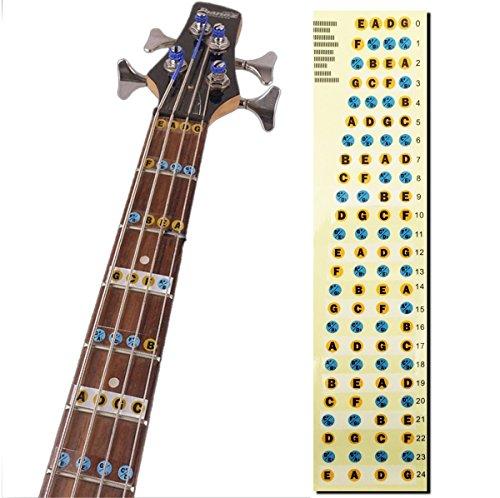 L'MS Guitar Fretboard Note Decals Fingerboard Frets Map Sticker for Beginner Learner Practice Fit 4 Strings Bass Guitar - Guitar Fretboard Map