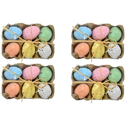 (Gift Boutique 24 Decorative Speckled Easter Eggs in Foam Egg Carton 4 Crate Trays with 6 Fake Eggs with Raffia Bow Multicolored Pastel Kitchen Decoration for Adult Boy Girl Party)