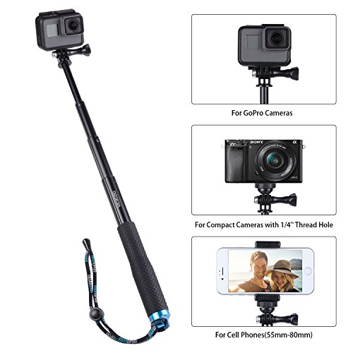 (Vicdozia Extension Stick, 28.5'' Hand Grip Extendable Monopod Adjustable Pole Waterproof Handle Compatible with GoPro Hero 7 6 5 4 Session SJCAM AKASO Xiaomi Yi and More/Compact Cameras/Cell Phones)