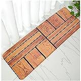 WSHINE 15.7''47.2'' Red Brick Flannel Kitchen Mat Non-Slip Backing Doormat Window Room Runner Rug