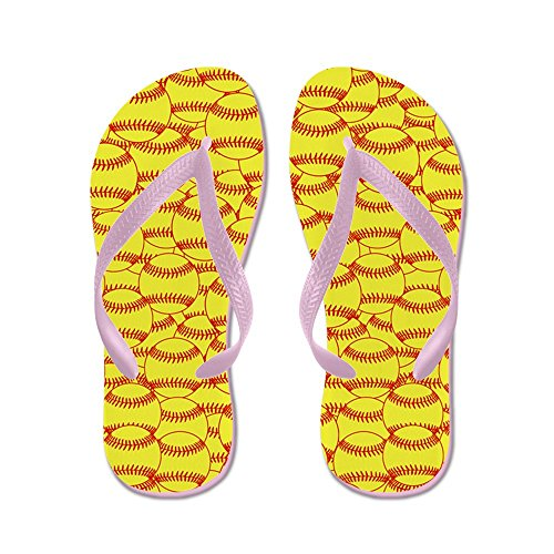 Cafepress Softball Jaune - Tongs, Sandales String Sexy, Sandales De Plage Rose