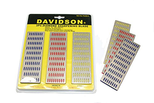 Diamond Knife Sharpening Whetstone Hone - 3 Piece Set Fine Medium and Coarse by Davidson