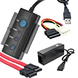 iKKEGOL USB 2.0 to IDE SATA PATA 2.5'' 3.5'' Inch Internal HDD Hard Disk Driver Converter Adapter Cable CD/DVD-ROM, CD-R/RW, Combo with Power Adapter 1 Year Warranty