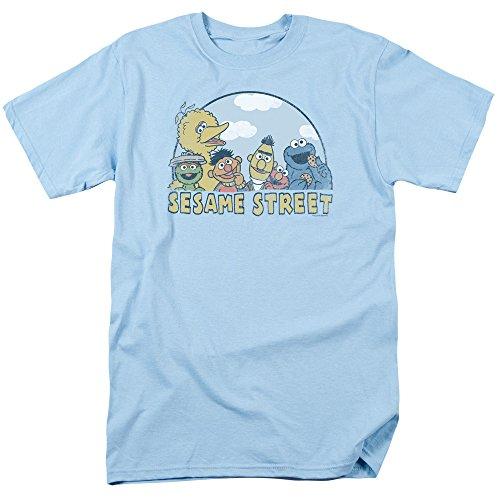 Sesame Street Group Oscar Elmo Cookie Big Bird Bert Ernie Mens Adult T-Shirt Blue (Small)]()