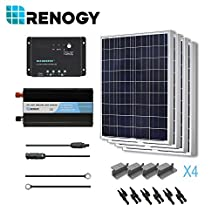 RENOGY® Solar Panel Complete Kit 400W Poly: Four 100W Poly Solar Panel+One 30A PWM Charge Controller+One Battery Inverter 1000W+One Pair 20Ft MC4 Solar Adaptor Kit+One Pair 8Ft 10AWG Tray Cable+Three Pairs MC4 Branch Connectors+Four Sets Z Brackets