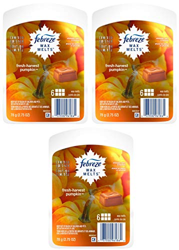 Febreze Wax Melts Air Freshener - Limited Edition - Fresh-Harvest Pumpkin - Net Wt. 2.75 OZ (78 g) Per Package - Pack of 3 Packages