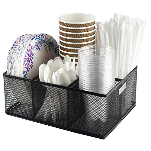 ELTOW Cutlery Utensil Holder – Organizer Caddy with 5 Slots for Cups, Forks, Spoons, Plates, Napkins, Condiments and More – Mesh Holder is Excellent for Silverware Organization, Home and Kitchen Décor
