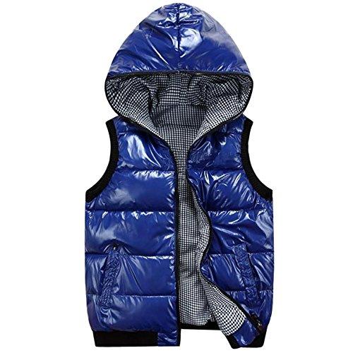 Vest Mens Blue Hooded KINDOYO Down Coat Outwear Winter Waterproof Windproof Jacket Down Puffer Sleeveless BgH1Stqw