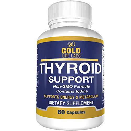 Thyroid Support Supplement with Iodine - May Support Weight Loss - 60 Capsules - Promotes Healthy Metabolism, Mental Clarity, & Focus - Thyroid Supplement Supports Natural Energy Levels by Gold Life Labs