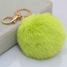 18 K Gold Plated Keychain with Plush Cute Genuine Rabbit Fur Key Chain for Car Key Ring or Bags 0025 (color 08)
