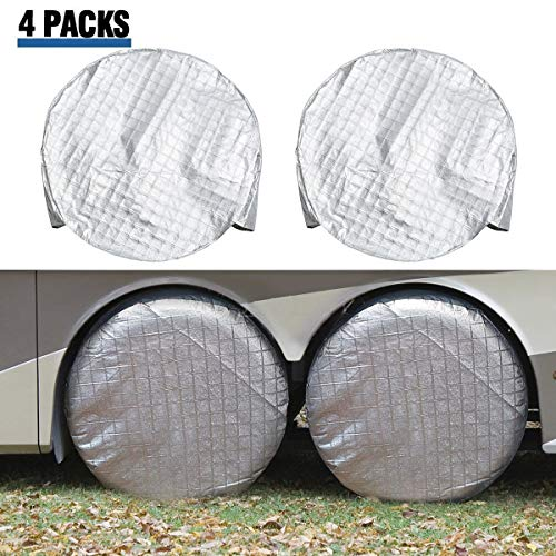 ELUTO Tire Covers for RV Wheel Set of 4 Motorhome Wheel...