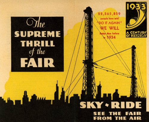 1933 A Century of Progress Sky Ride See the Fair From the Air