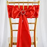 sarvam Fashion Set Of ♥ 50 ♥ Chair Decorative Satin Sashes Bow Designed For Wedding Events Banquet Home Kitchen Decoration (50, Red)