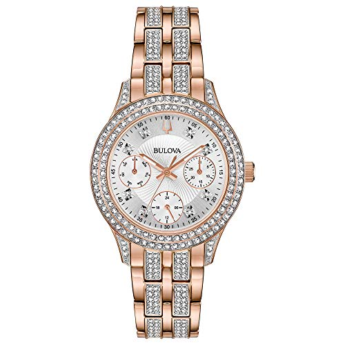 - Bulova Women's Swarovski Crystal Quartz Watch with Stainless-Steel Strap, Rose Gold, 16 (Model: 98N113)