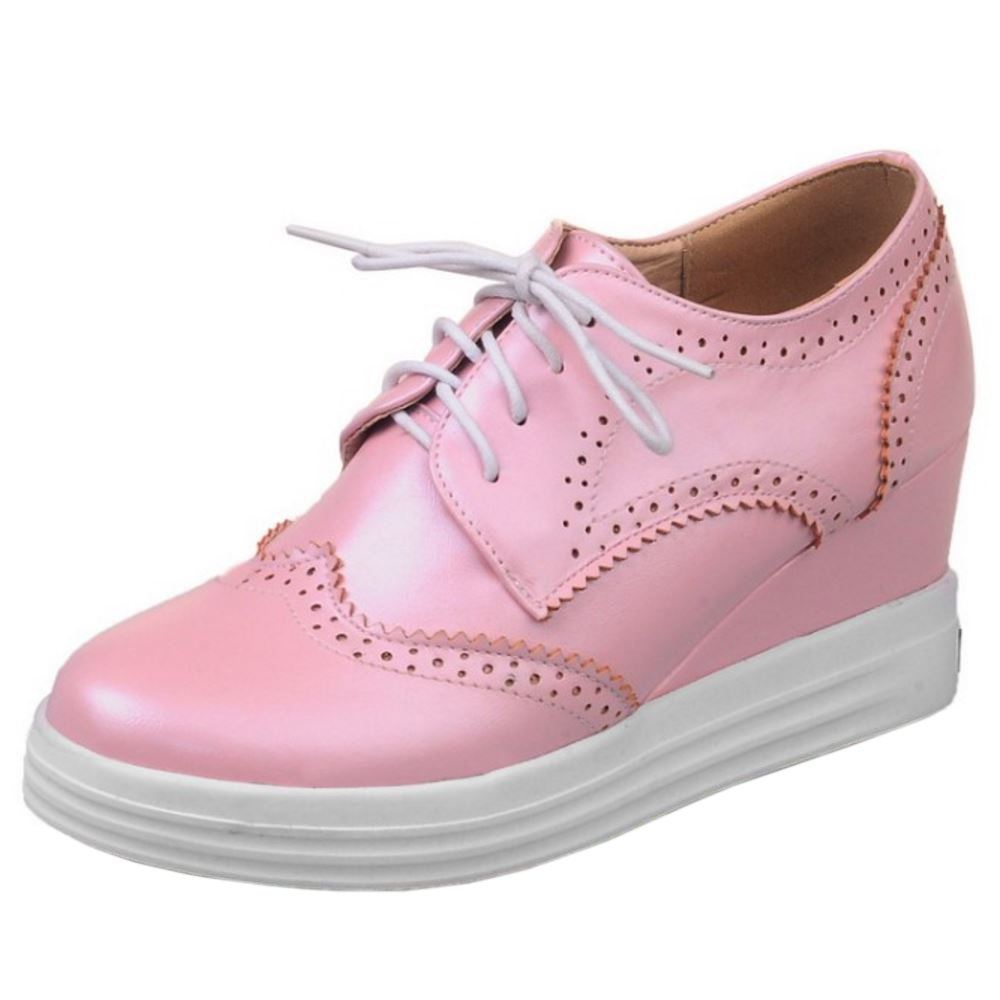 Zanpa Damen Casual Flatform Pumps Keilabsatz33 EU|Pink