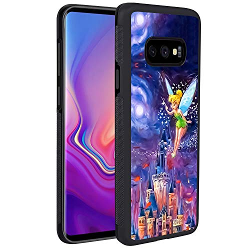 DISNEY COLLECTION Tinkerbell at Cinderella Castle Phone Cover for Samsung Galaxy S10e Black Shockproof TPU and Hard PC Back Design