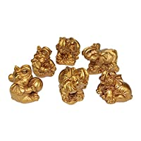 Gift Set~ 6 Gold Color Lucky Elephants Statues Feng Shui Figurine Home Decor Housewarming Birthday Congratulatory Gift (G16421)~We Pay Your Sales Tax