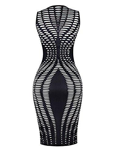 Aecibzo Femmes Sexy Imprimé À Rayures Manches Mince Paquet En Forme Hip Robe Moulante Noire