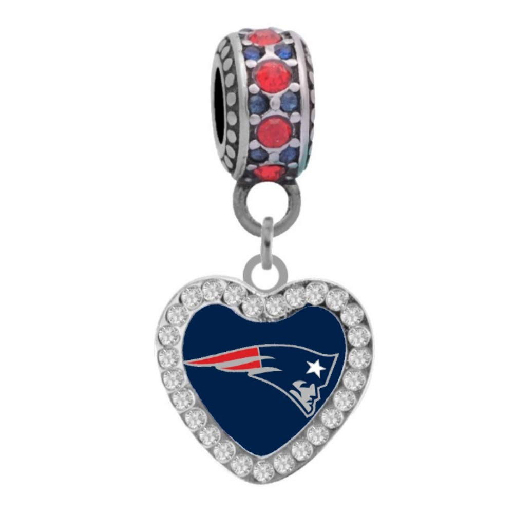 Final Touch Gifts New England Patriots Rhinestone Heart Charm Fits European Style Large Hole Bead Bracelets