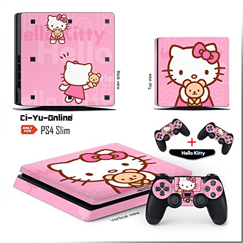 Ci-Yu-Online VINYL SKIN [PS4 Slim] Hello kitty #1 Whole Body VINYL SKIN STICKER DECAL COVER for PS4 Playstation 4 System Console and Controllers