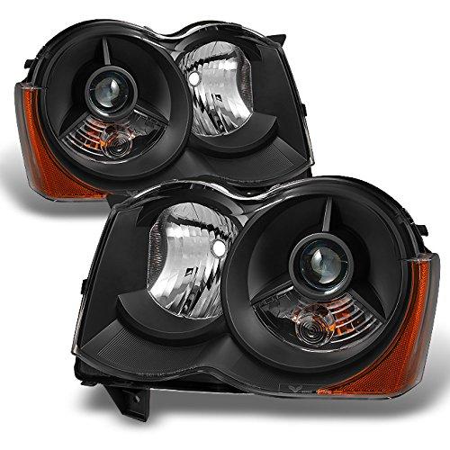For [Black] 2008 2009 2010 Jeep Grand Cherokee Halogen Type Projector Headlight Headlamps LH + RH Pair ()