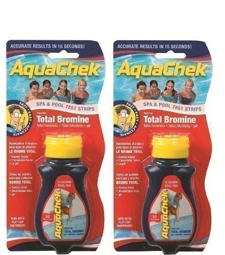 2x AquaChek Red 4-in-1 Tests de Bromine Total, pH, Alcalinité Totale et Dureté Totale - 50 bandes