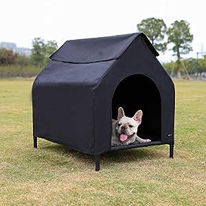 Amazon Basics Erhöhte, tragbares Haustier-Hütte, Größe S, Schwarz