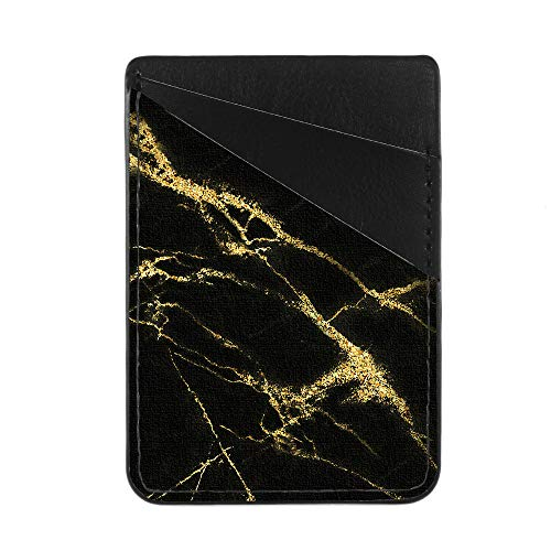 Obbii Black Gold Marble PU Leather Card Holder for Back of Phone with 3M Adhesive Stick-on Credit Card Wallet Pockets for iPhone and Android -