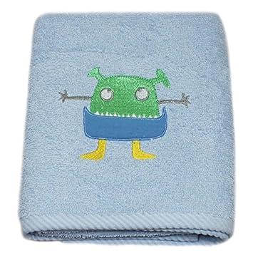Harwoods - Toalla para la cara infantil - Con un monstruo bordado - Azul: Amazon.es: Hogar