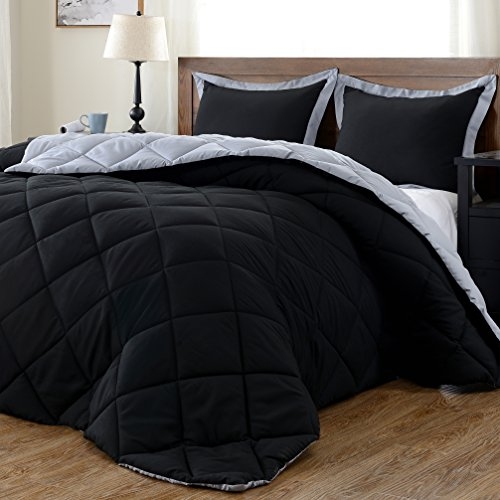 downluxe Lightweight Solid Comforter Set (Queen) with 2 Pillow Shams - 3-Piece Set - Black and Grey - Hypoallergenic Down Alternative Reversible Comforter