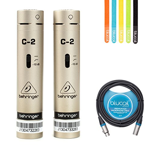 Behringer C-2 Matched Pair Cardioid Condenser Microphones -INCLUDES- Blucoil Audio 10' Balanced XLR Cable AND 5 Pack of Cable Ties (Studio Pair Condenser)