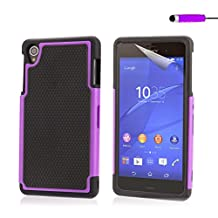 32nd® Shock proof dual defender case cover for Sony Xperia Z3, including screen protector, cleaning cloth and touch stylus - Purple