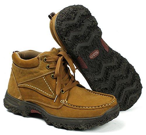 Fashion Mens Läder Halkfritt Arbete Stövlar 2420 Tan