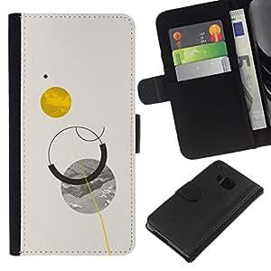 All Phone Most Case / Oferta Especial Cáscara Funda de cuero Monedero Cubierta de proteccion Caso / Wallet Case for HTC One M9 // Sun Planets Moon Sky Minimalist